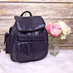 Vintage Black Leather Small Backpack Sling Bag